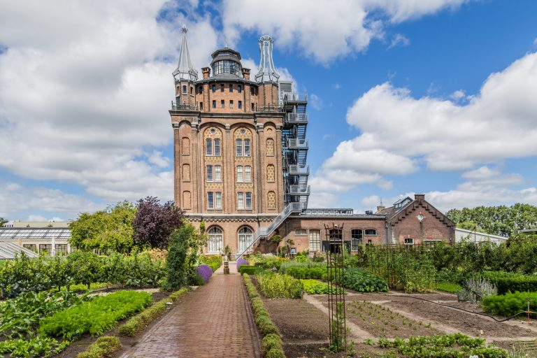 Ancient water tower, rebuild and converted into an hotel and  restaurant with a vegetable garden called Villa Augustus in Dordrecht in the Netherlands.